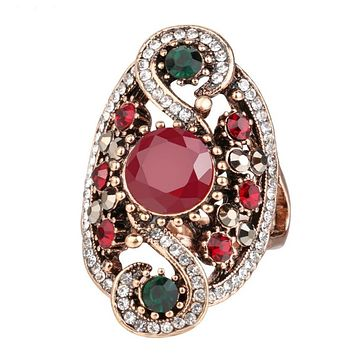 Antique Red and Green Round Stone Gold Ring