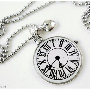 Elegant Pocket Watch Pendant with Heart Charm on Silver