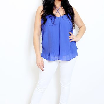 Cobalt Accordion Camisole Top