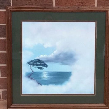 Rare Bonsai Tree Cloudy Sky on Ocean Open Edition Framed Art Print By Artist