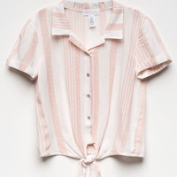 FULL TILT Stripe Tie Front Girls Camp Shirt