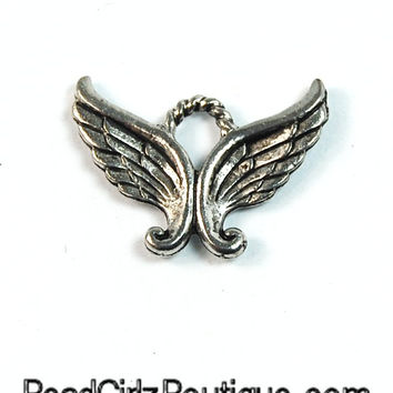 Angel Wings Silver Pewter Charm -1