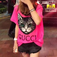 """""""Guccci"""" Women Loose Casual Fashion Multicolor Beaded Letter Short Sleeve T-shirt Top Tee"""