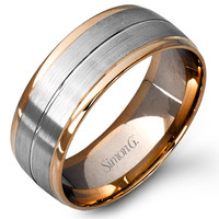 Simon G. 14K Two-Tone Rose and White Gold 9 MM Wedding Band