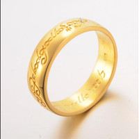 Fashion Ring Letter Gold Plated