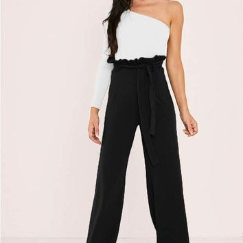 SARAH ASHCROFT TALL BLACK FLARED HIGH WAISTED PAPERBAG TROUSERS