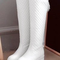 New White Round Toe Flat Faux Fur Patchwork Fashion Knee-High Boots