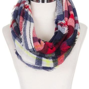 White Navy Red Plaid Infinity Scarf