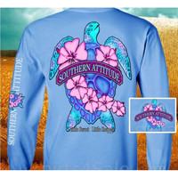 Country Life Outfitters Southern Attitude Snappy Sea Turtle Flower Carolina Blue Vintage Girlie Bright Long Sleeve T Shirt