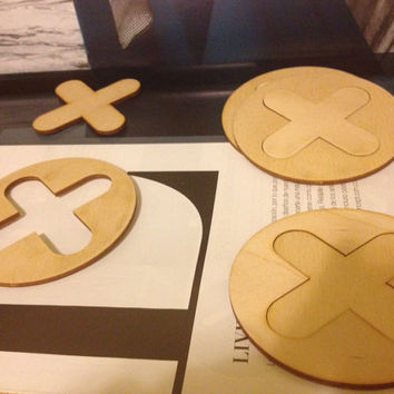 Xoxo tic tac toe game birch plywood wood puzzle coasters - set of four
