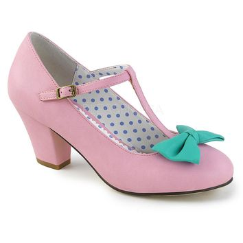 Pin Up Couture Wiggle Pink Bow Cuban Heel Pumps