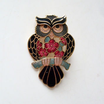 Vintage Owl Enamel Brooch Black 22k Gold by Fish Enterprises