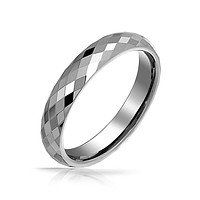 Couples Faceted Diamond Cut Wedding Band TungstenRingsForMen 4MM