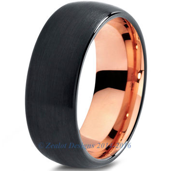 8mm 18k Rose Gold Plated Tungsten Brushed Black Dome Cut