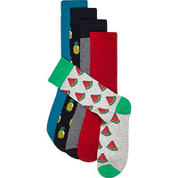 River Island MensBlue mixed fruit socks pack