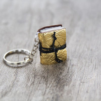 mini book keychain, key accessories leather keychain, zipper pull bag charm, key fob book keychain, book lover miniature journal - gold