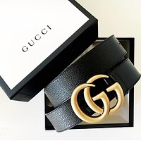 GUCCI Belt Fashion Smooth Buckle Woman Men Leather Belt