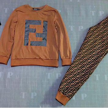 FENDI New Popular Women Casual FF Letter Print Top Sweater Pants Trousers Set Two-piece Sportswear I-AF-MMOH