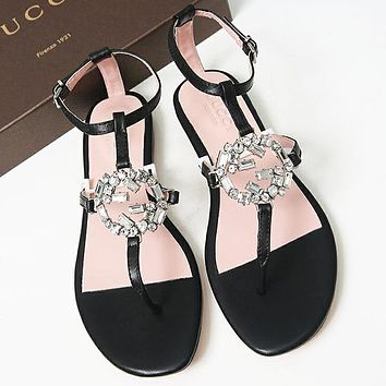 GUCCI Diamonds Women Fashion Sandals Flats Shoes