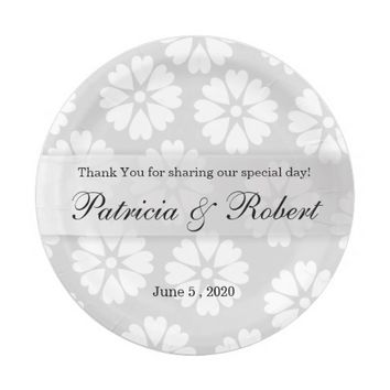 Chic White Flowers Personalized Silver Wedding 7 Inch Paper Plate