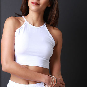 Jersey Knit Racer Crop Top