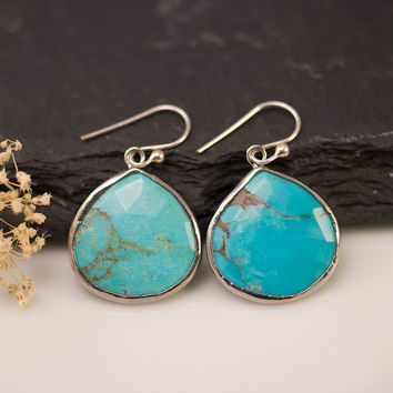 Turquoise Earrings - Sterling Silver Bezel Gemstone Earrings - December Birthstone Jewelry