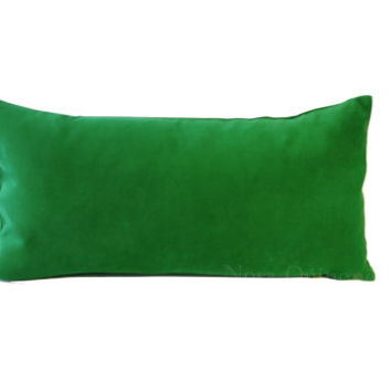 10x20 to 12x24 Kelly Green Decorative Bolster Pillow Cover -Medium Weight Cotton Velvet- Invisible Zipper Closure- Cushion Cover