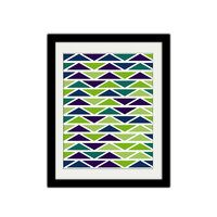 "Triangles. Retro Poster. Purple, Green, Blue. Geometric poster. Shapes. Abstract Print. Modern and Trendy. 8.5x11"" Print"