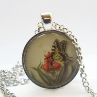 Flower Pendant Necklace ,  Glass Art Pendant ,  Picture Pendant,  Photo Pendant