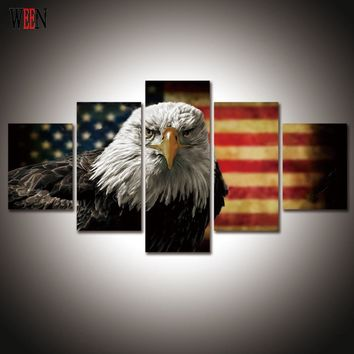 Eagle and American flag 5 Piece canvas art For Living Room  Modern Landscape Wall Pictures Poster and Printed Home Decor Gift