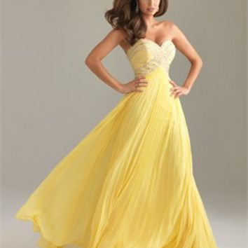 Strapless Empire Sweetheart Drape Sequin Yellow Floor-length Prom Dress PD0853