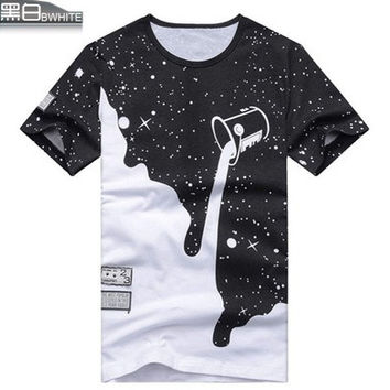 004,Fashion Casual Patchwork Pattern paint bucket Printed Creative Short Sleeve Cotton Men's T-shirts [10312512131]