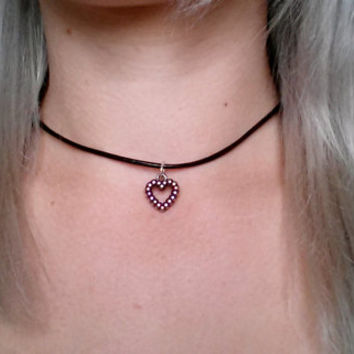Cute heart choker necklace, black leather cord choker, gothic choker, heart pendant, small heart choker, love choker, small heart pendant