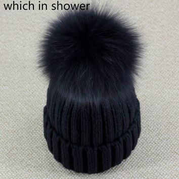which in shower Genuine Real Fox Fur Pom Poms Ball Winter Beanies Hat Keep Warm Women Girl Wool Cap Fur Pompom Female Bonnet