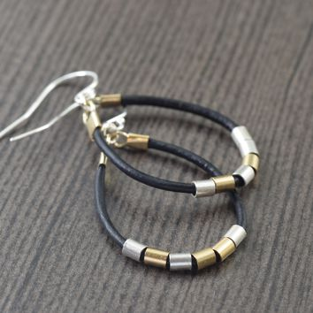 Small Leather hoop earrings, gold accents. Black, White, Brown, Red, Grey, Navy