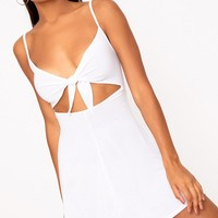 White Cut Out Swing Dress