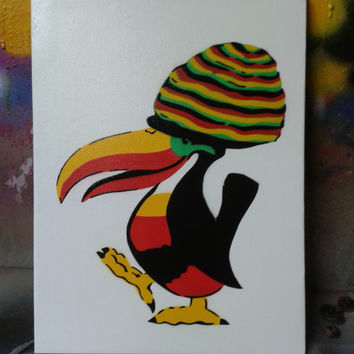 Toucan painting,rasta,reggae,stencil art,spray paints,canvas,pop art,birds,red,green,yellow,rastafarian,hand crafted,design,comical,artist