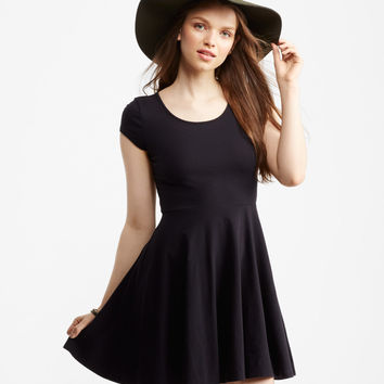 Lace Inset Fit & Flare Dress
