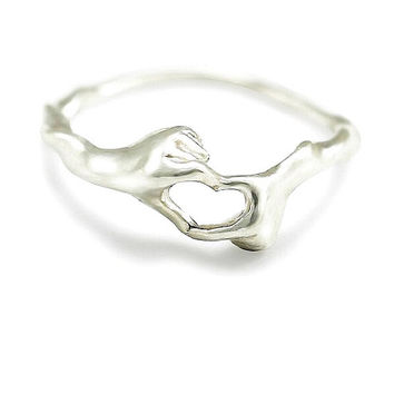 Sterling Silver Couple Love Hand Heart Ring Girl eternity Ring Midi Ring Jewelry Stacking Ring Stackable 925 Sterling Silver