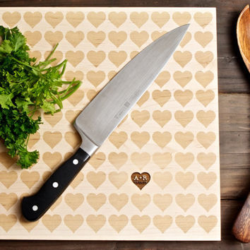 Personalized Carved Heart Engraved Wood Cutting Board - 12x16 - Valentine's Day - custom wedding or anniversary gift for foodie couple