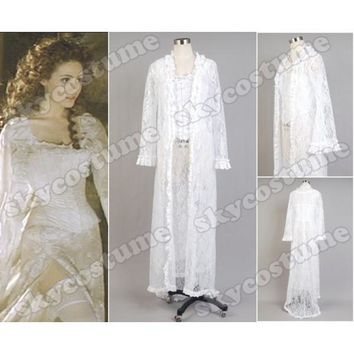 The Phantom of the Opera Christine Daae Fancy White Dress Gown Halloween Cosplay Costumes For Adult Women