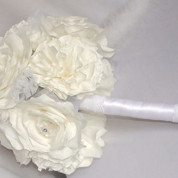 Bouquets, Bridal bouquet, White wedding bouquet, Paper Bouquets, Wedding party bouquet package,Fake flower bouquets, silk bouquets, corsages