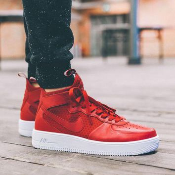 ONETOW Nike Air Force 1 Ultraforce Mid 864025-002 Red For Women Men Running Sport Casual Shoes Sneakers