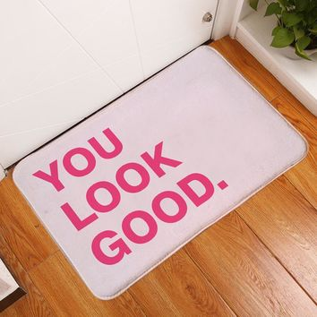 Autumn Fall welcome door mat doormat HomeMiYN Bath Mat Pink Letter Flannel Printed Non Slip s Entrance Floor Pad Home Hotel Decoration Foot Pads Rectangle AT_76_7