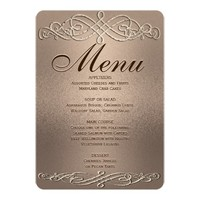 Dinner Menu | Copper Shimmer Elegance Card