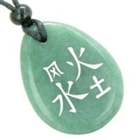 Lucky Life Kanji Elements Air Fire Water Earth Green Quartz Pendant Necklace