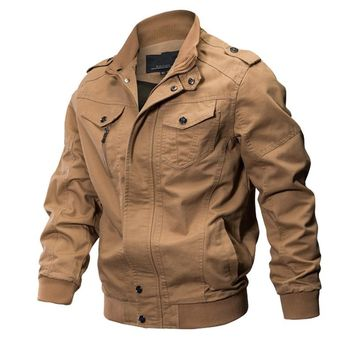 Bomber Military Pilot Jacket Men Winter Outwear Casual Washed Coats Army Flight Air Force Tactical Jacket Plus Size M-6XL