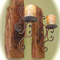 "Distressed Reclaimed Wood & Iron Wall Sconces (2) Chunky 2 "" Thick Wood 19"" Tall- 5"" Wide 9"" front To Back- Comes Ready to Hang - Very Cool"