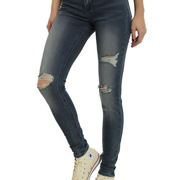 Blackheart Indigo Deconstructed Super Skinny Jeans