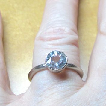 Ring Aquamarine Recycled 14K White Gold Engagement Stacking March Birth Stone Ethical Eco Friendly Valentines Day Gift